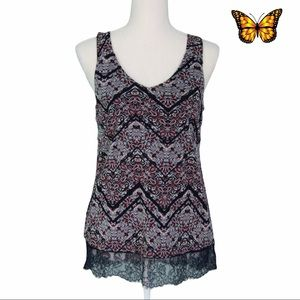 Cleo Petite Patterned Tank with Lace Size Extra Small Petite